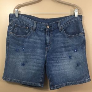 Levi's Jean Shorts Flower Embroidery Blue Denim 31